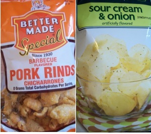 Bags of pork rinds and potato chips